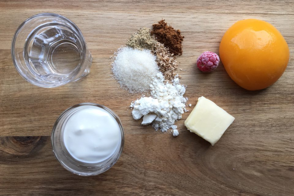 Ingredienser - Peach melba tærte
