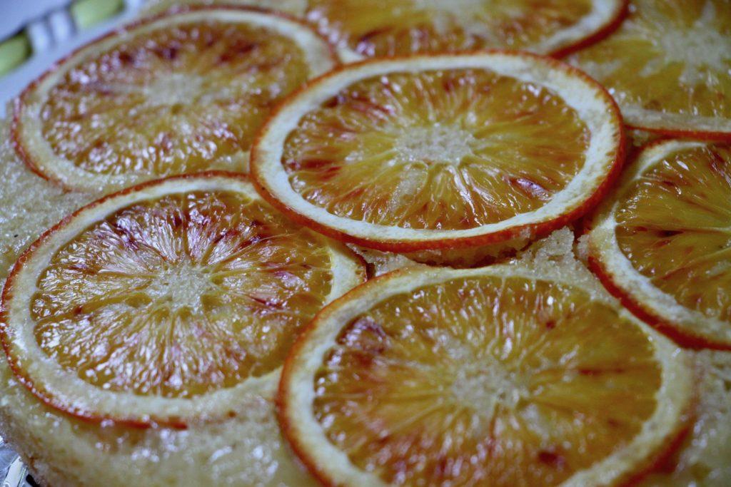 Blodappelsin upside-down kage