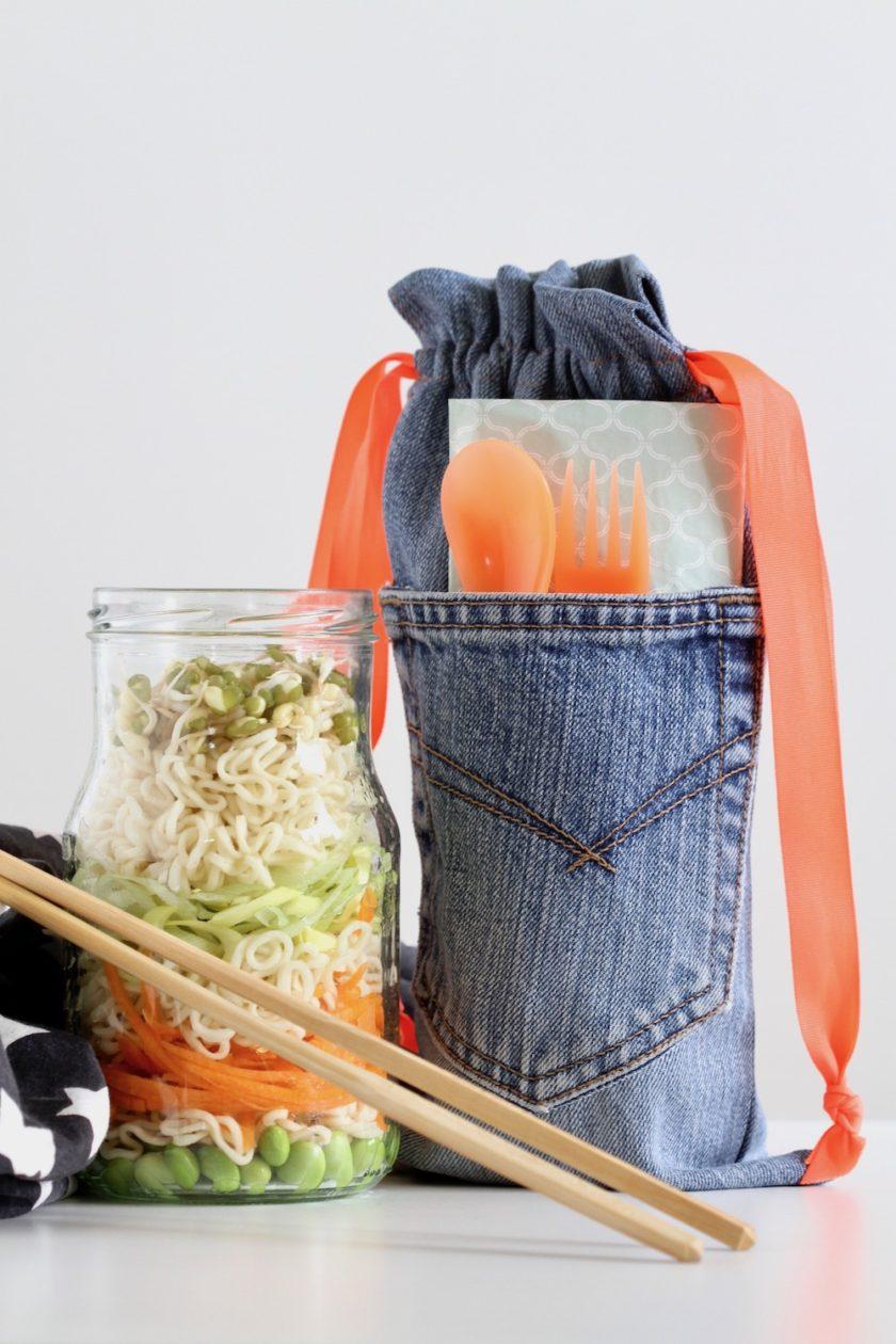 Kopnudler og DIY madpakkepose. Opskrift fra Bagvrk.dk.