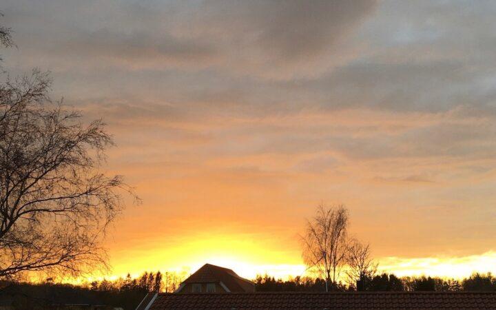 Solnedgang over vænget Karanrænedagbog 6:14 Bagvrk.dk